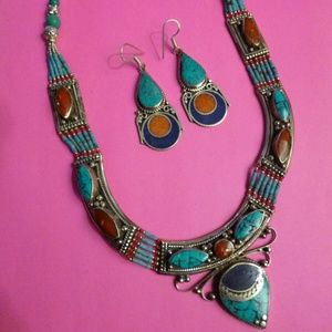 Silver, lapis,turquoise & coral necklace & earring